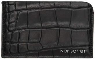 Neil Barrett Black Croc Flat Card Holder