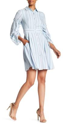 Taylor Bell Sleeve Striped Shirt Dress