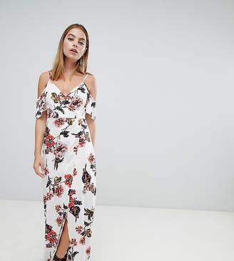 Parisian Petite Cold Shoulder Floral Maxi Dress