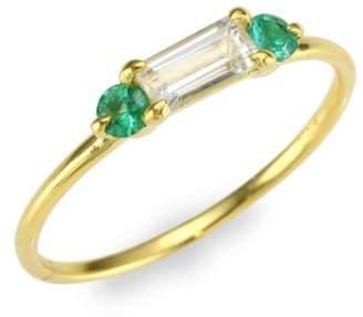 Ila White Sapphire & Emerald 14K Yellow Gold Ring