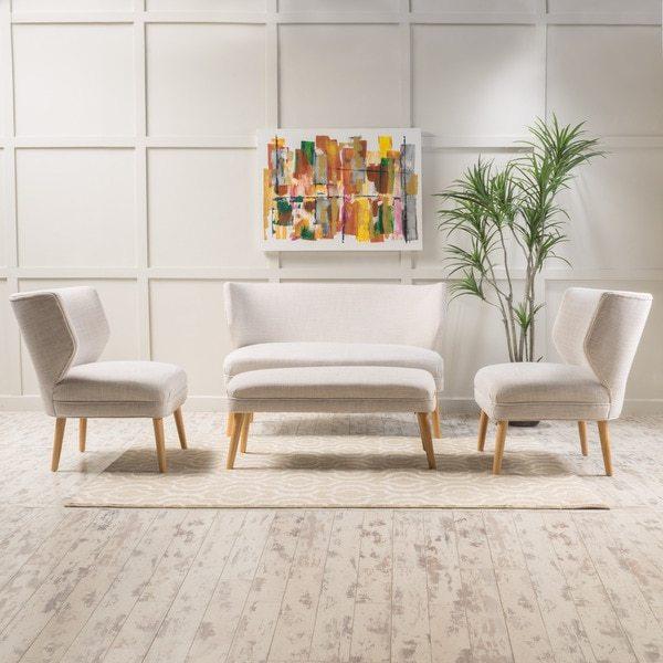Christopher Knight Home Desdemona 4-piece Fabric Living Room Sofa Set