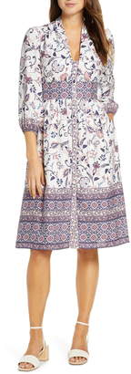 Eliza J Floral Button Front Linen Blend Shirtdress