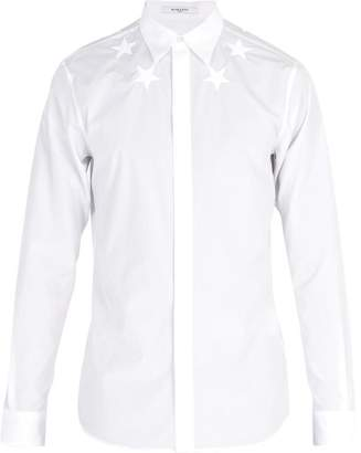 Givenchy Star Embroidered Cotton Poplin Shirt - Mens - White