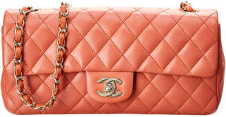 Chanel Pink Quilted Lambskin Leather East West Flap Bag