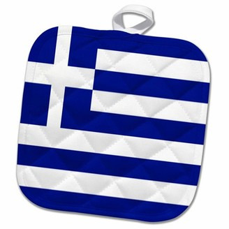 3dRose Greek Flag - Pot Holder, 8 by 8-inch