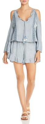 Surf Gypsy Washed Denim & Crochet Lace Pleated Romper Swim Cover-Up