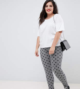 Asos DESIGN Curve leggings in houndstooth check with polka dot