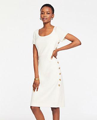 Ann Taylor Petite Doubleweave Side Button Sheath Dress