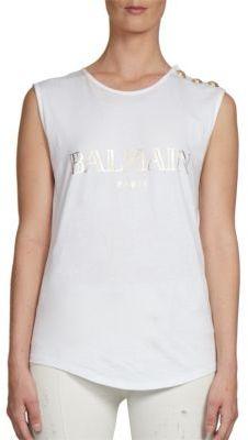 BalmainBalmain Sleeveless Logo Tee