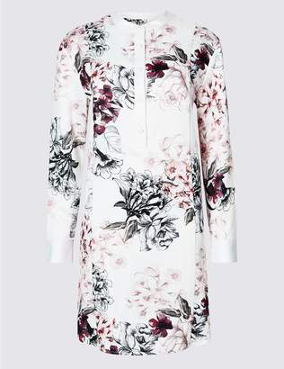 Marks and Spencer Floral Print Long Sleeve Tunic Dress
