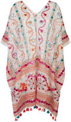 Juliet Dunn Cotton Embroidered Poncho
