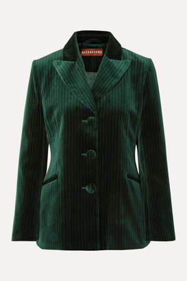 ALEXACHUNG Metallic Pinstriped Cotton-velvet Blazer - Dark green