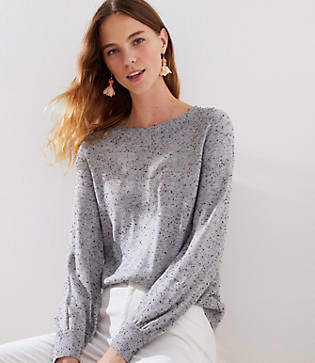 LOFT Petite Speckled Draped Sleeve Sweater