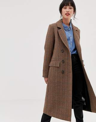 Warehouse tailored longline coat in check