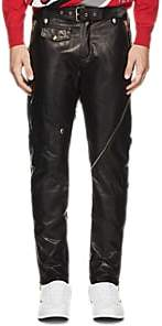 Moschino MEN'S BELTED LEATHER BIKER TROUSERS