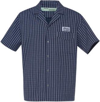 Off-White Logo-Patch Striped Cotton Shirt