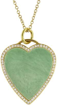 Jennifer Meyer Diamond Green Turquoise Heart Inlay Necklace - Yellow Gold