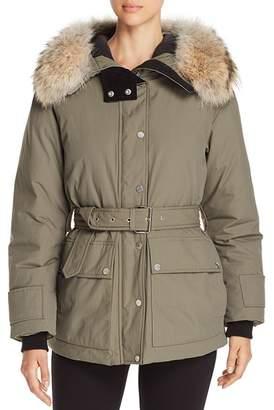 Belstaff Dawlby Fur Trim Mid Down Coat