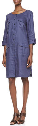 Go Silk Linen Pocket-Front Shirtdress, Plus Size
