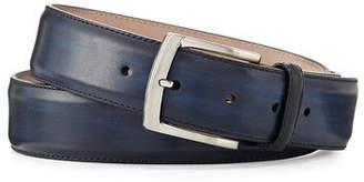 Magnanni Square-Buckle Calf Leather Belt