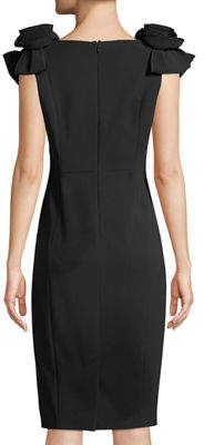 Jax Rosette-Shoulder V-Neck Sheath Dress