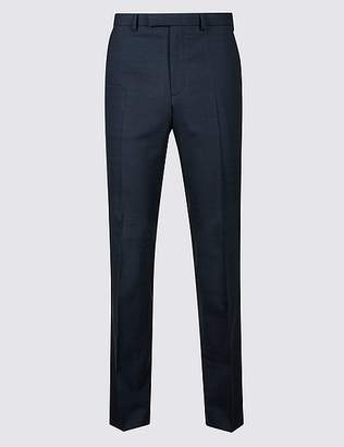 Marks and Spencer Navy Checked Tailored Fit Trousers