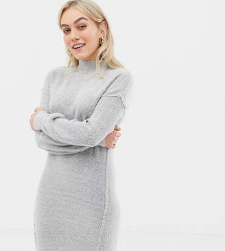 Brave Soul Petite hudson high neck sweater dress with balloon sleeves