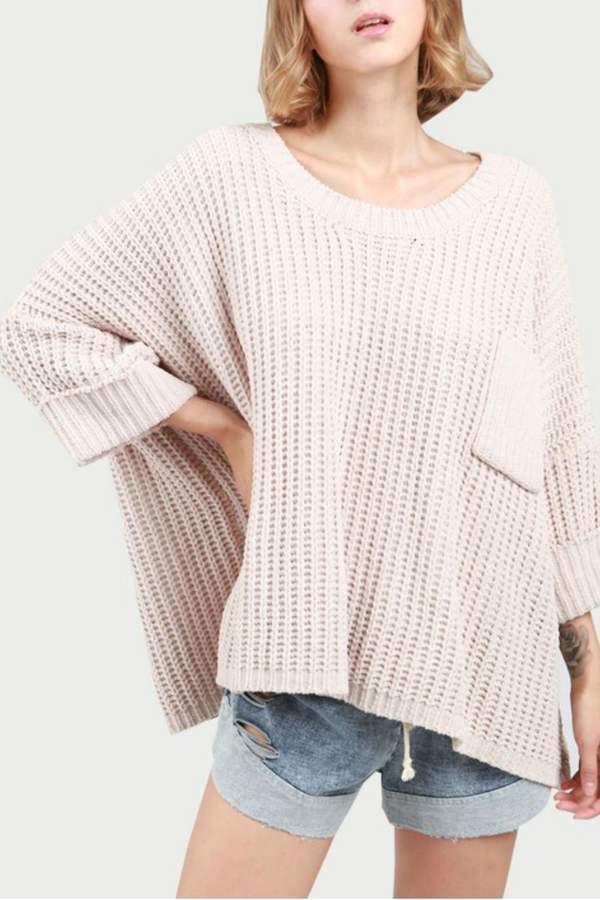 Oversized Knit Poncho