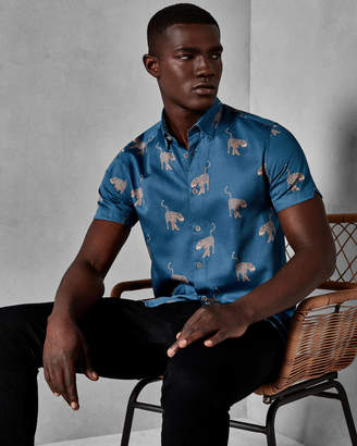 Ted Baker SANTHA Panther print cotton shirt