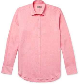 Canali Slim-Fit Slub Linen Shirt - Men - Coral