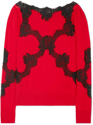Dolce & Gabbana Lace-trimmed Wool-blend Sweater - Red