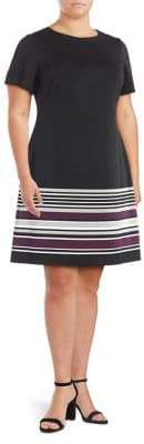 Calvin Klein Plus Striped Hem Fit-and-Flare Dress