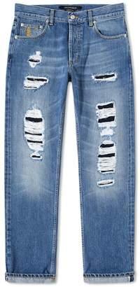 Alexander McQueen Distressed Slim Fit Jeans
