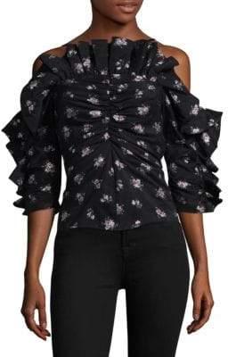 Rebecca Taylor Floral Print Ruffled Cold-Shoulder Top