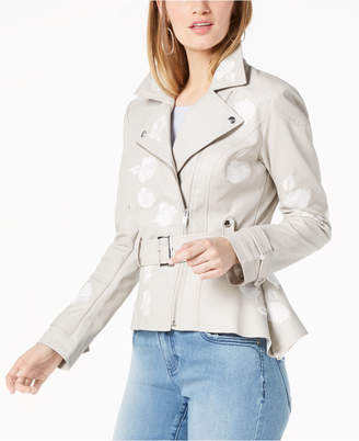 INC International Concepts I.n.c. Embroidered Faux-Leather Moto Jacket, Created for Macy's