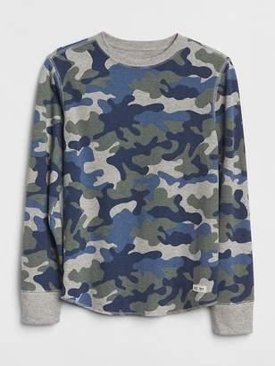 Gap Camo Textured Long Sleeve Shirt