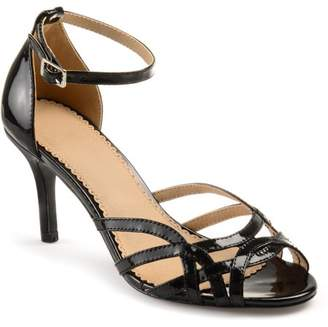 Co Brinley Women's Faux Leather Ankle Strap Metallic Heels