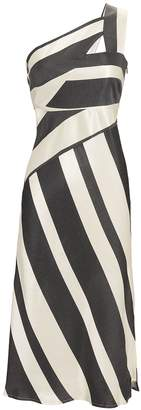 Michelle Mason Asymmetric Striped Midi Dress