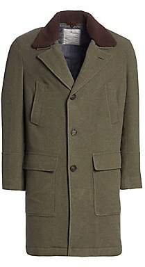 Brunello Cucinelli Men's Wool& Cashmere Shearling-Collar Overcoat
