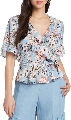 Willow & Clay Print Floral Peplum Wrap Top
