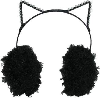 David & Young Women's Pearl Trimmed Cat Ear Faux Fur Earmuffs