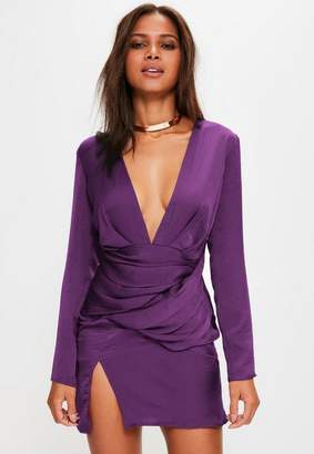 Missguided Purple Satin Panelled Long Sleeve Shift Dress