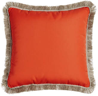 Lacefield Designs Fringed Coral Outdoor Pillow