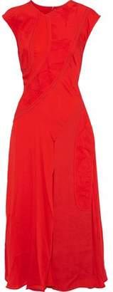 Victoria Beckham Patchwork Crepe, Jacquard And Silk Crepe De Chine Midi Dress