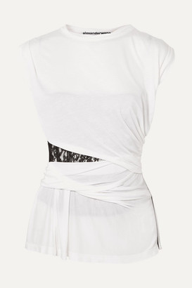Alexander Wang Lace-insert Gathered Modal Top - White