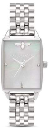 Olivia Burton Stainless Steel Beehive Watch, 20.5mm x 25.5mm