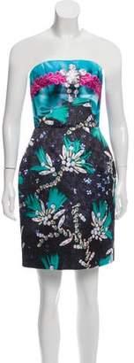 Mary Katrantzou Strapless Printed Mini Dress