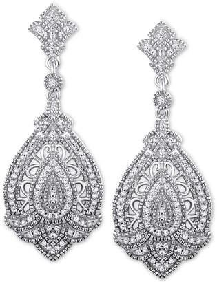 Macy's Diamond Baroque-Inspired Drop Earrings (1/3 ct. t.w.) in Sterling Silver