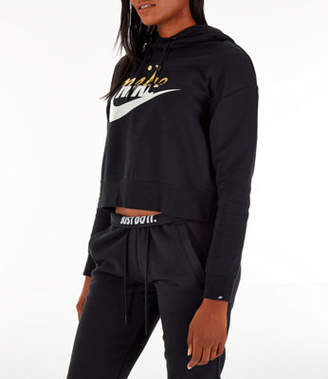 Nike Women's Sportswear Rally Metallic Crop Hoodie