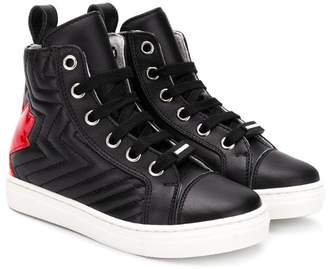 DSQUARED2 ribbed maple leaf logo hi-top sneakers